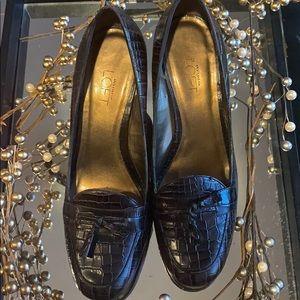 Ann Taylor Loft Brown Crocodile Heel Loafers